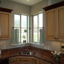 corner kitchen window treatments with double sink 4677