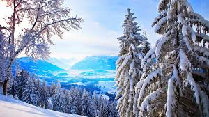 winter bright winter day blue white sky mountains trees nature
