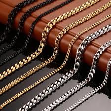 titanium chain link necklace images Vnox men 39 s chain necklace 24 30 inch long necklace 3 5 7mm wide jpg