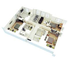 Custom House Designs by House Design Plans 3d 3 Bedrooms Ideasidea
