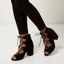 river island black ghillie lace up block heels in black lyst