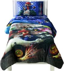 Mario Bedding Set Mario Kart Wii Bedding Set Padded Duvet Cover With Matching 3pc