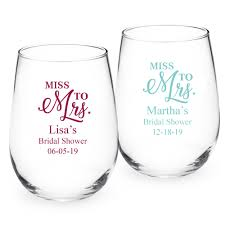 stemless wine glasses wedding favors miss to mrs personalized 15 oz stemless wine glass personalized