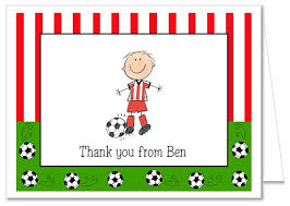 soccer boy birthday thank you note cards personalized