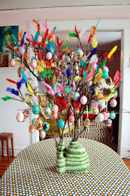 easter tree decorations with unique tree and indoor area and table