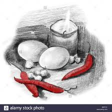 eggs peppers crocus bulbs and candle light still life pencil