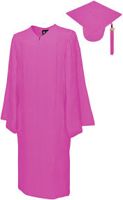 pink cap and gown matte pink cap gown bachelor graduation set rs4251465601387