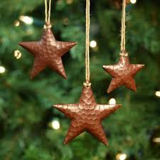 copper hanging ornaments set of 3 trails