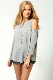 shoulder cut out blouse boohoo womens cut out shoulder top ebay