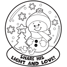 winter coloring pages snowman in snow globe coloringstar