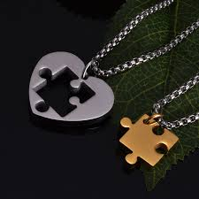couples puzzle heart necklace images Jigsaw puzzle heart pendant couple necklaces blazemall jpg