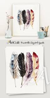 posters for home decor printable boho style artwork four feathers digital download print