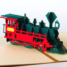 3d pop up laser cut cards vintage train creative gifts postcard