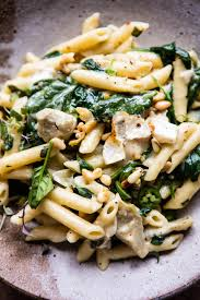 Laura In The Kitchen Pasta Lemony Spinach And Artichoke Brie Penne Pasta Half Baked Harvest