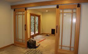 Barn Style Interior Sliding Doors Interior Varnished Oak Sliding Door Which Furnished