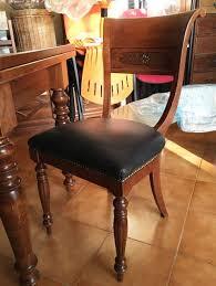 sedie pelle tavolo e sedie in legno con seduta in pelle a rimini kijiji