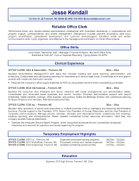 Resume Samples Office Assistant File Clerk Resume Sample Clerical Template With Re Healthcare