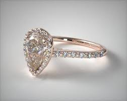 gold diamond engagement ring 17306r14 pave halo and shank diamond engagement ring pear