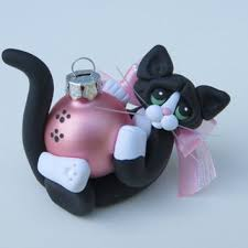 polymer clay black tuxedo cat from heartofclaygirl on