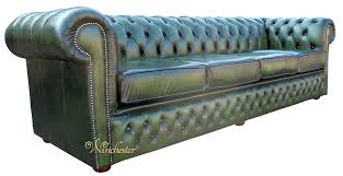 Green Leather Sofa by Chesterfield Winchester 4 Seater Settee Antique Green Leather Sofa