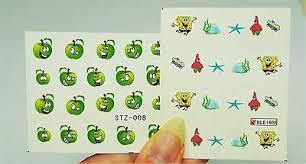 4 sheets panda water nail decal spongebob faces nail art green