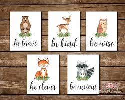 Wise Decor by Woodland Animals Series Deer Bear Fox Raccoon Owl Be Brave