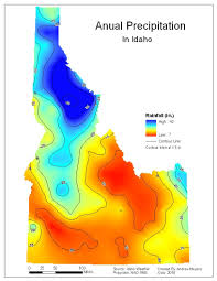 Map Of Idaho State by Andrew U0027s Maps Krging Map Rainfall In Idaho