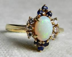 vintage opal engagement rings opal ring vintage opal diamond sapphire engagement ring 14k yellow