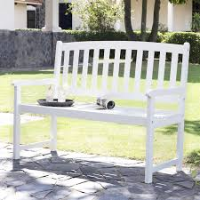 Curved Bench With Back 5 Ft Wood Garden Bench With Curved Slat Back And Armrests In White