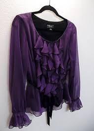 Dress Barn Collection Dress Barn Collection 14 L Dressy Formal Purple Black Ruffled