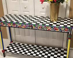 Painted Console Table Hand Painted Furniture Etsy