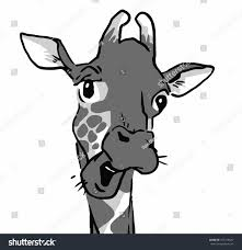 emotion faces giraffe talking giraffe black stock illustration