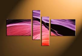Home Wall Art Decor 4 Piece Purple Abstract Multi Panel Canvas