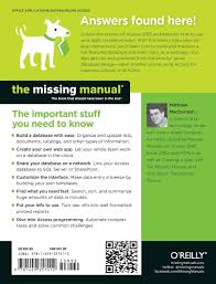 access 2013 the missing manual matthew macdonald 9781449357412