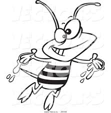 vector of a cartoon happy bee with honey on his hands coloring