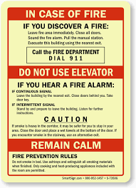 fire instruction signs what to do in case of fire