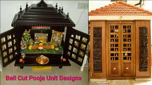 latest pooja unit designs with bell cuts puja unit designs puja