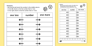 one more one less dice activity sheet dice games numeracy