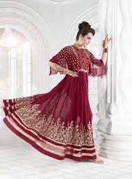 mahroon color party wear designer anarkali dress