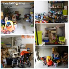 before and after major garage clean out clevergirlorganizing com