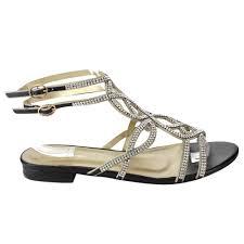 eye candie ec29 women u0027s sparkly rhinestone strappy open heel flat
