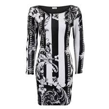 Black And White Striped Bodycon Dress Ladies Long Sleeve Black And White Print Stripe Fitted Women U0027s