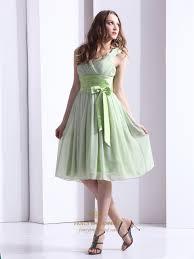 sage green chiffon v neck knee length bridesmaid dress with bow