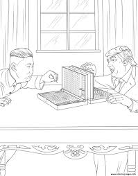 donald trump with corea president coloring pages printable