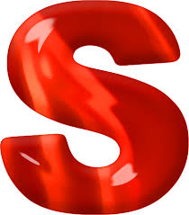S Presentation Alphabets Red Glass Letter S