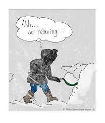 Shoveling Snow Meme - cartoon coloured glasses shoveling metaphors