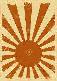 Flag Yellow Sun Illustration Of A Retro Vintage Japanese Flag Background Poster
