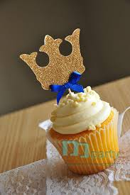 prince baby shower decorations 12pcs handmade blue crown cupcake toppers royal prince baby shower