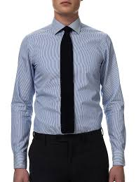 custom tailored blue striped slim fit men shirt
