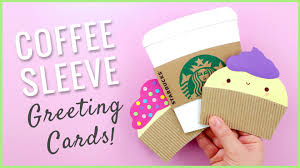 diy greeting cards from coffee sleeves recycled crafts youtube
